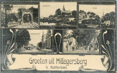PBK-1983-957 Prentbriefkaart met 5 afbeeldingen van Hillegersberg.Van boven naar beneden.-1 Plaatz-Tivoli-2 Dorpskerk-3 ...