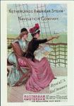 PBK-1985-10 Twee dames zittend aan de railing van een schip van de Holland-Amerika Lijn.