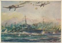 PBK-1985-67 Het oorlogsschip Jan van Galen op de Nieuwe Waterweg in gevecht met Duitse vliegtuigen. Rechts het ...