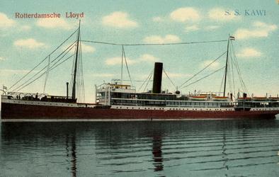 PBK-1986-262 Stoomschip Kawi van de Rotterdamse Lloyd N.V., gezien aan de bakboordzijde.