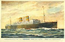 PBK-1987-1123 Gezicht op het passagiersschip de Veendam van de Holland-Amerika Lijn.