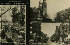 PBK-1987-1177 Fotokaart met 3 verschillende afbeeldingen.Links: de bollenmarkt op de Goudsesingel.Rechtsboven: de ...
