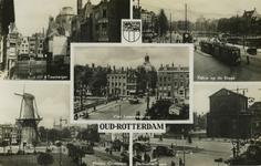 PBK-1987-1292 Fotokaart met 5 stadsgezichten. Van boven naar beneden:-1 De Toesteiger.-2 Kijkje op de Blaak.-3 De ...
