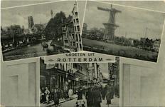 PBK-1987-133 Prentbriefkaart met 3 verschillende afbeeldingen.-1 De Kolk met het spoorwegviaduct en de Grote Kerk. -2 ...