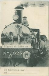 PBK-1987-164 Afbeelding van het Witte Huis aan de Geldersekade op de kop van een locomotief.