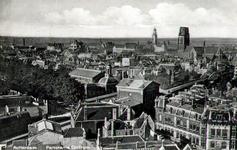 PBK-1987-195 Overzicht van Plan C, Station Beurs, de toren van de Grote Kerk en het stadhuis aan de Coolsingel, vanaf ...