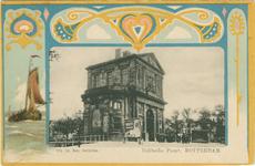 PBK-1987-234 De Delftse Poort aan het Delftsepoortplein, gezien uit het zuidwesten. Op de achtergrond rechts het ...