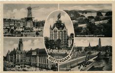 PBK-1987-565 Prentbriefkaart met 5 verschillende afbeeldingen. Van boven naar beneden:-1 Oostplein.-2 Plantsoen ...