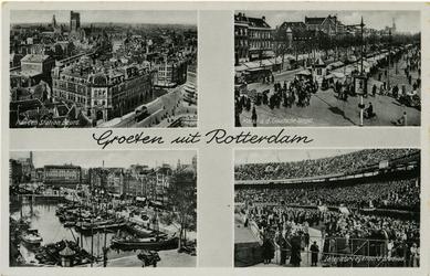 PBK-1987-571 Prentbriefkaart met 4 verschillende afbeeldingen. Van boven naar beneden:-1 Plan C en station Beurs.-2 ...