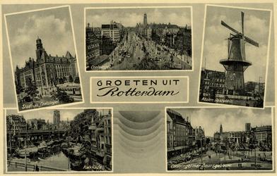 PBK-1987-573 Prentbriefkaart met 5 afbeeldingen: Linksboven: stadhuis Coolsingel; linksonder:de Kolk; midden: de ...