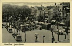 PBK-1987-580 Grotemarkt vanuit het zuidoosten, in het midden de Wijde Marktsteeg.