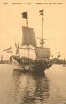 PBK-1987-897 Het zeilschip De Halve Maen, een model op ware grootte van het schip uit 1609, waarmee Hudson in Amerika ...
