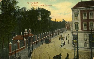 PBK-1987-989 De hoofdingang van de Rotterdamsche Diergaarde aan de Kruisstraat. Rechts de hoek van de Mauritsweg.