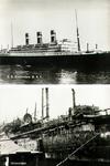 PBK-1988-183 Twee afbeeldingen van de s.s. Statendam, passagiersschip van de Holland-Amerika Lijn op één ...