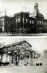 PBK-1988-184 Prentbriefkaart met 2 afbeeldingen, voor en na het bombardement van 14 mei 1940.Het Beursgebouw aan het ...