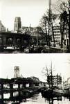 PBK-1988-186 Twee afbeeldingen van de Kolk met het spoorwegviaduct en op de achtergrond de toren van de ...
