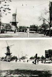 PBK-1988-187 Twee afbeeldingen van het Oostplein met molen De Noord. Voor en na het bombardement van 14 mei 1940.