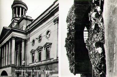 PBK-1988-188 Twee afbeeldingen van het oude stadhuis aan de Kaasmarkt. Voor en na het bombardement van 14 mei 1940.