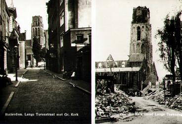 PBK-1988-190 Twee afbeeldingen van de Lange Torenstraat met Grote Kerk. Voor en na het bombardement van 14 mei 1940.