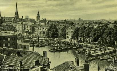 PBK-1988-198 De Zalmhaven. Op de achtergrond de torens van de Sint-Ignatiuskerk en de Nieuwe Zuiderkerk.