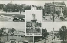 PBK-1988-251 Fotokaart met 4 stads- en 1 havengezicht.Van boven naar beneden:-1 Wolfshoek met Lutherse Kerk.-2 ...