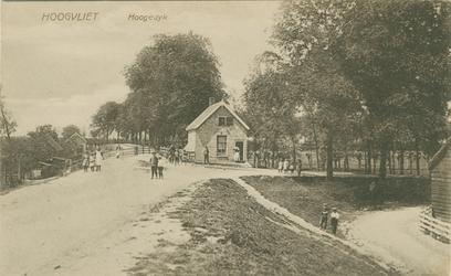PBK-1989-191 Hogedijk, een hoge brede dijk die tussen Hoogvliet en Pernis aangelegd was ten tijde van Napoleon. De weg ...