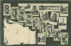 PBK-1989-298 Prentbriefkaart met 7 stadsgezichten van onder andere: oudehavenkade, Witte Huis, Nieuwe Maas, ...