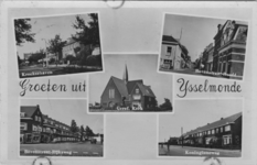 PBK-1989-556 Fotokaart met 5 verschillende afbeeldingen van IJsselmonde. Van boven naar beneden:-1 Kreeksehaven.-2 ...