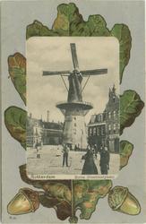 PBK-1989-77 De Goudsevest/Oostvest en molen De Noord aan het Oostvestplein op een eikenblad.