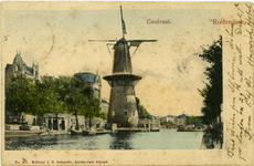PBK-1990-421 Korenmolen De Hoop aan de Coolsingel, uit het noorden, tot het jaar 1911 was de naam De Roomolen en in ...