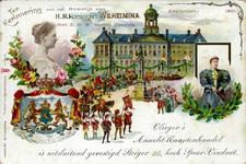 PBK-1990-426 Prentbriefkaart ter herrinnering aan het huwelijk van koningin Wilhelmina en Prins Hendrik op 7 februari 1901.