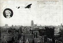 PBK-1990-50 De Antwerpse luchtvaartpionier Jan Olieslagers vliegt met zijn machine over Rotterdam. Links boven is zijn ...