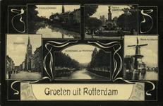 PBK-1992-43 Prentbriefkaart met 5 afbeeldingen van : de Spiegelnisserkade, de fontein aan het Burgemeester ...