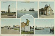 PBK-1993-166 Prentbriefkaart met 6 afbeeldingen van Hoek van Holland. Van boven naar beneden:-1 Vuurtoren.-2 ...