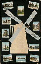 PBK-1993-323 Prentbriefkaart met 11 verschillende stads- en riviergezichten rond een windmolen. Met de klok ...