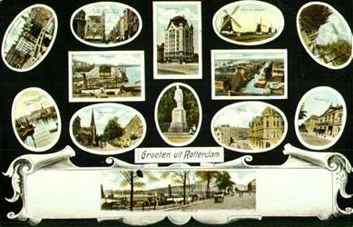 PBK-1993-375 Prentbriefkaart met 13 verschillende stads- en havengezichten. Van boven naar beneden:Regentessebrug, ...