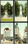 PBK-1993-445 Prentbriefkaart met 4 verschillende afbeeldingen. Van boven naar beneden:-1 standbeelden Piet Heyn.-2 ...