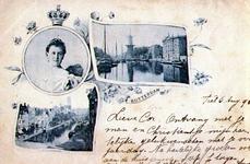 PBK-1993-468 Prentbriefkaart met 3 verschillende afbeeldingen. Linksboven: Portret van koningin Wilhelmina.Linksonder: ...