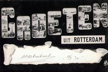 PBK-1993-496 Prentbriefkaart met 21 afbeeldingen in de letters Groeten van onder andere: 1.de Willemsbrug, 2. de ...