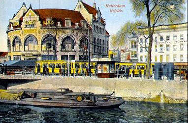 PBK-1993-542 Gezicht op het Hofplein met café Loos, op de voorgrond de Rotterdamse Schie.