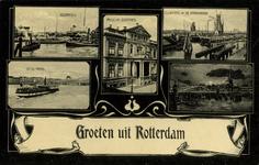 PBK-1993-591 Prentbriefkaart met 5 afbeeldingen van onder andere: Linksboven: Leuvehaven met op de achtergrond de ...