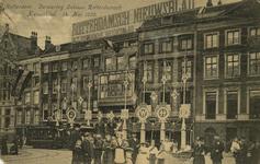 PBK-1993-599 Versiering van het kantoorgebouw van Rotterdamsch Nieuwsblad aan de Zuidblaak, op 14 mei 1909, ter ...