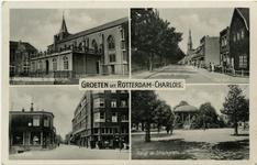 PBK-1993-653 Prentbriefkaart met 4 verschillende afbeeldingen van Oud-Charlois. Van boven naar beneden:1. Nederlandse ...