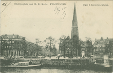 PBK-1993-671 Gezicht op het Stieltjesplein met de rooms-katholieke Onze Lieve Vrouwe van Lourdes en de Heilige ...