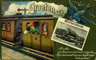 PBK-1993-698 Afbeelding van een trein die net een stration verlaat. Rechts een duif met een ansicht van de Schiekade in ...