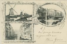 PBK-1993-713 Prentbriefkaart met 3 verschillende afbeeldingen.Molens aan de Boezem, Steigersgracht, Grote Wijnbrug.