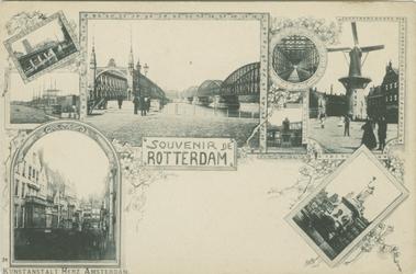 PBK-1993-714 Prentbriefkaart met 8 verschillende afbeeldingen van stads- en havengezichten.Kolk, Boompjes, Willemsbrug ...