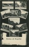 PBK-1993-715 Prentbriefkaart met 9 verschillende afbeeldingen met titlels eronder van het dorp Hoogvliet. Van boven ...