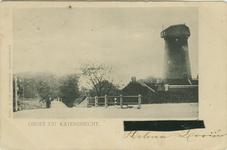 PBK-1993-732 Afgeknotte molen en daken van huizen op de hoek van de Katendrechtse Lagedijk en de Hellevoetstraat, uit ...