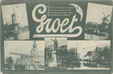 PBK-1993-797 Prentbriefkaart met 5 verschillende afbeeldingen van Delfshaven.Molen aan de Voorhaven, Molen aan de ...
